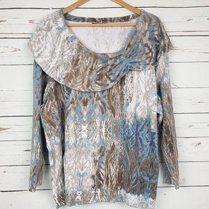 Nic + Zoe Shawl Collar Watercolor Sweater